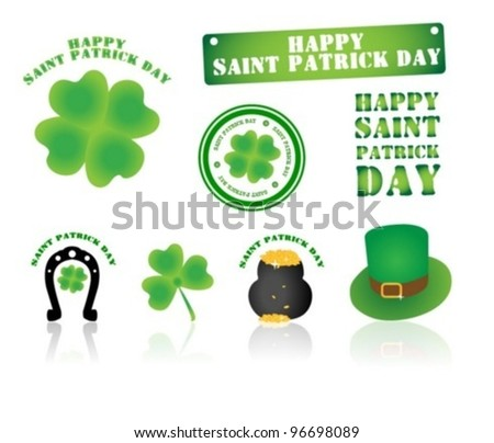 Set of St. Patrick stamps and symbols - stock vector