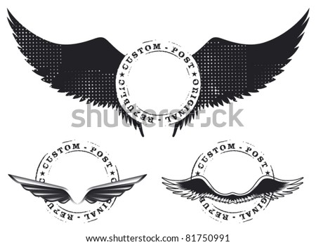 set of stamp mark with wings
