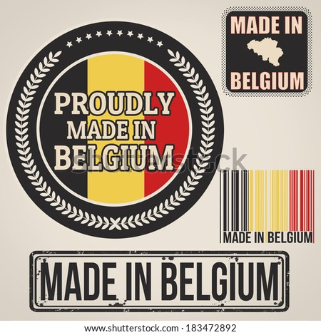Set of stamps and labels with the text made in Belgium written inside on retro background, vector illustration - stock vector