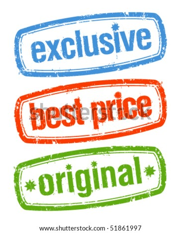 Set of stamps for exclusive sales under the best price - stock vector