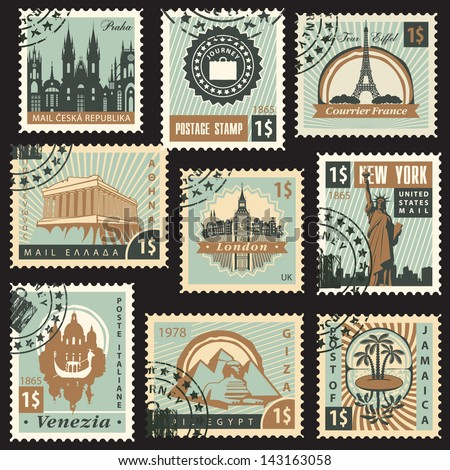 Set stamps different countries architectural landmarks for New york state architect stamp