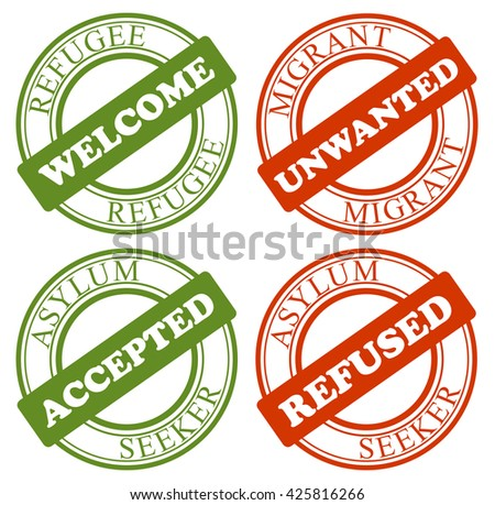Set of stamps - process of approval / refusal of migrant as refugee. Affirmative or negative decision to get asylum or to be deported. Transparent simple graphic - stock vector