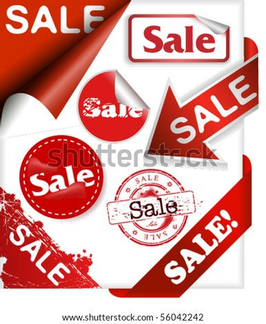 Set of stamps, ribbons, corner signs, stickers and labels with word sale - stock vector