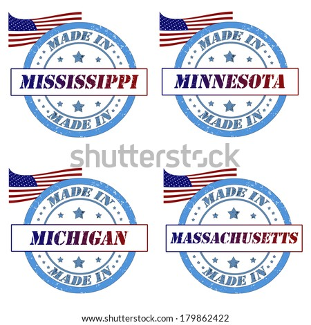 Set of stamps with made in mississippi,minnesota,michigan,massachusetts - stock vector