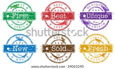 Set of stamps with text: first, best, unique, new, sold and fresh