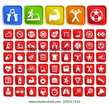 Set of 50 Standard Quality Fitness Icons with Square Colored Buttons on White Background. - stock vector