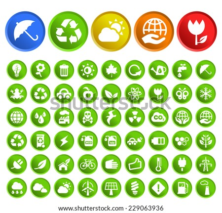 Set of 50 Standard Quality Recycle and Ecology Icons with Circular Colored Buttons on White Background.