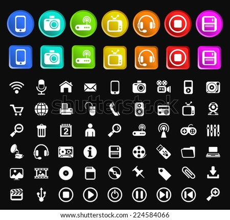 Set of Standard Quality Technology Icons with Square and Circular Colored Buttons on Black Background.