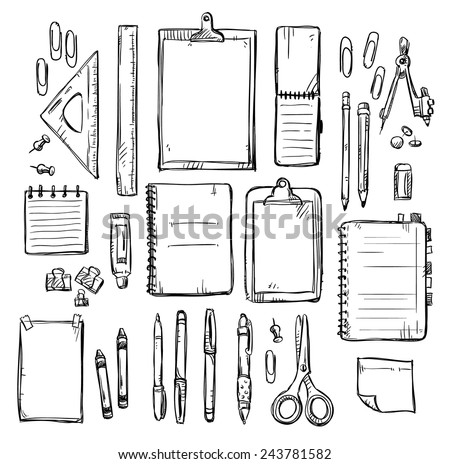 set of stationery drawings. Vector illustration.  - stock vector