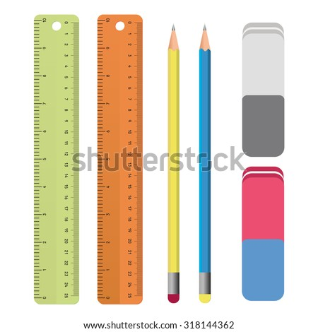 Set of stationery tools outlines: ruler, pencil, eraser. School supplies, Drawing Set in vector  - stock vector