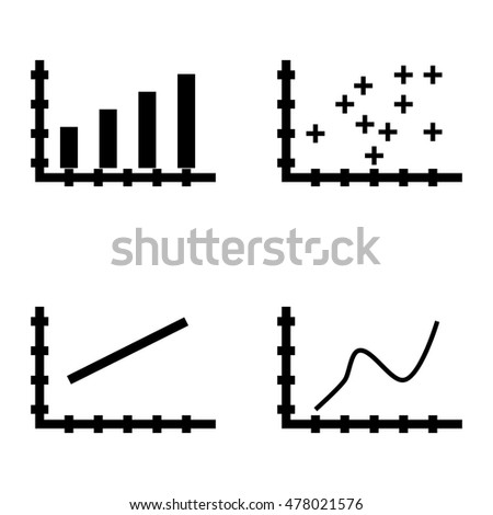 Set Of Statistics Icons On Bar Chart, Line Chart And Curved Line. Statistics Vector Icons For App, Web, Mobile And Infographics Design.