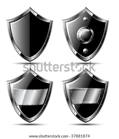 Set of steel shields isolated on white - vector - stock vector