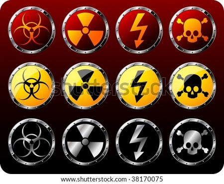 Set of steel shields with warning symbols - vector - stock vector