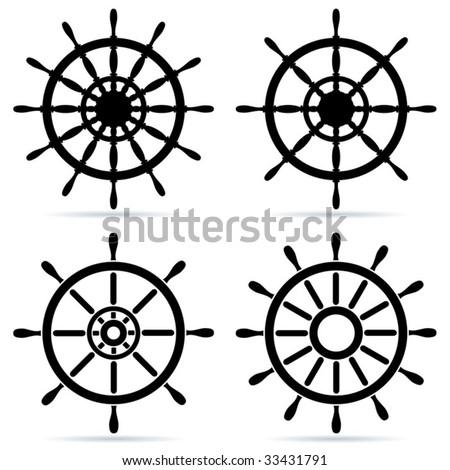 Set of steering wheels - vector - stock vector