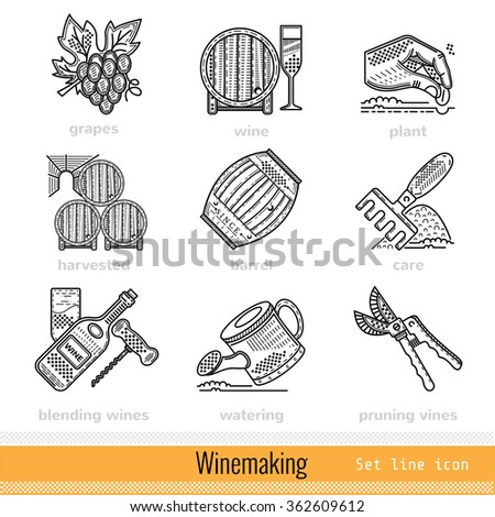 Set of Steps of Wine making Outline Web Icons - stock vector