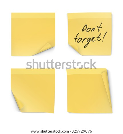Set of stick notes with curl corner isolated on white background - stock vector