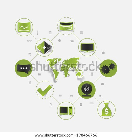 Set of sticker design. Global high-tech concept - stock vector