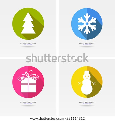 Set of stickers and badges icons for New Year and Christmas.  - stock vector
