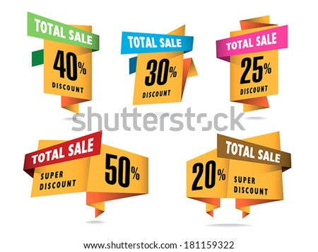 Set of stickers and badges with Total Sale - stock vector