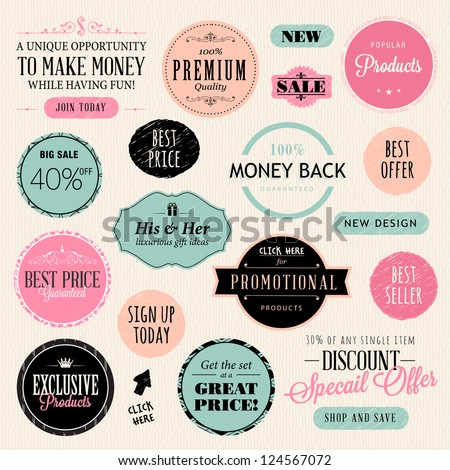 Set of stickers and elements - stock vector