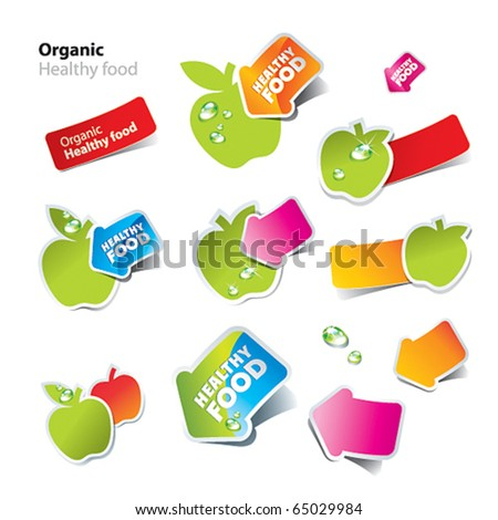 Set of stickers and icons of healthy and organic food. Vector illustration. - stock vector