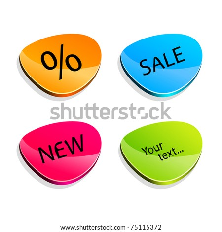 Set of stickers  different colors - stock vector