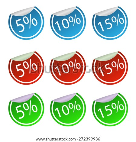 Set of stickers discounts. - stock vector