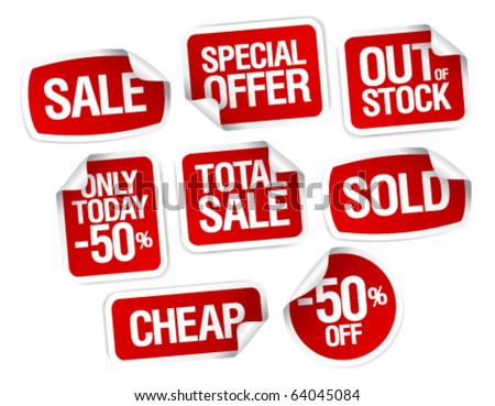 Set of stickers for best stock sales - stock vector