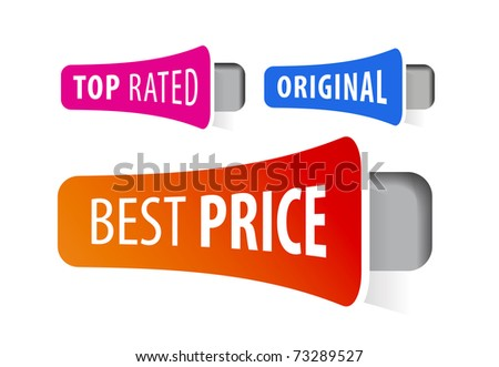 Set of stickers for exclusive sales under the best price - stock vector