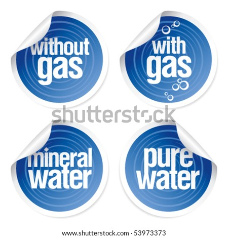 Set of stickers for mineral water. - stock vector