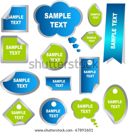 set of stickers in green and blue - stock vector