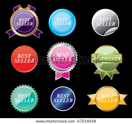 Set of stickers on a black isolated  background,vector - stock vector