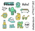 set of stickers  pins  patches...