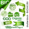 Set of stickers, ribbons, stamps and labels with words: eco, bio, pure and organic - stock vector