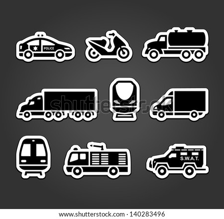 Set of stickers, transport symbols, vector illustration - stock vector