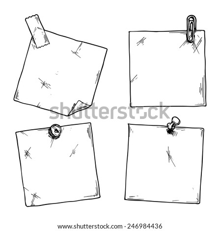 Set of stickers with a clip, office pins and scotch tape. - stock vector