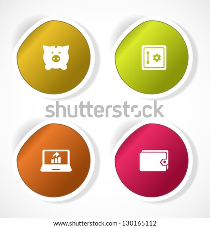 Set of stickers with icons - stock vector