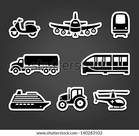 Set of sticky stickers, transport symbols, vector illustration - stock vector