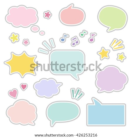 Set of sticky style speech bubbles / vector eps 10 illustration - stock vector