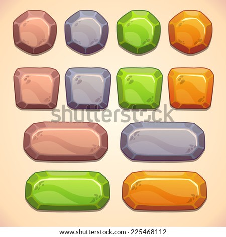 Set of stone buttons for game or web design - stock vector