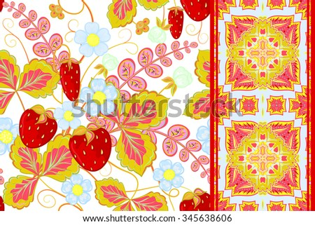 Set of strawberries seamless hand drawn vector pattern and seamless border (ribbon, band, tape). Vector illustration. - stock vector
