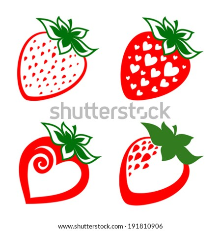 set of Strawberry icon isolated on white background. Vector illustration  - stock vector