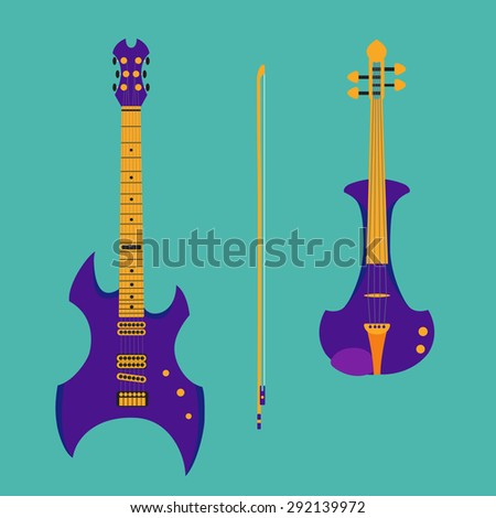 Set of string instruments. Purple electric violin with bow and heavy metal guitar. Isolated musical instruments on teal background. Vector illustration in flat style design. - stock vector