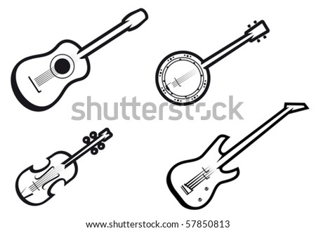 Set of string musical instruments - also as emblem. Jpeg version also available in gallery - stock vector