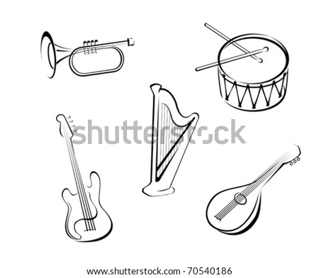 Set of string musical instruments for music design - also as emblem or logo template. Jpeg version also available in gallery - stock vector