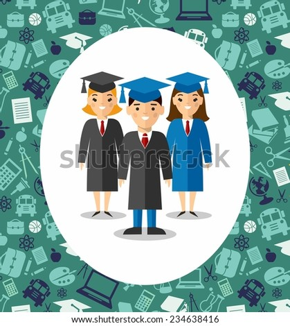 Set of students in graduation gown and mortarboard in bacgkround of education icons. Illustration of graduates with background of education icons  - stock vector