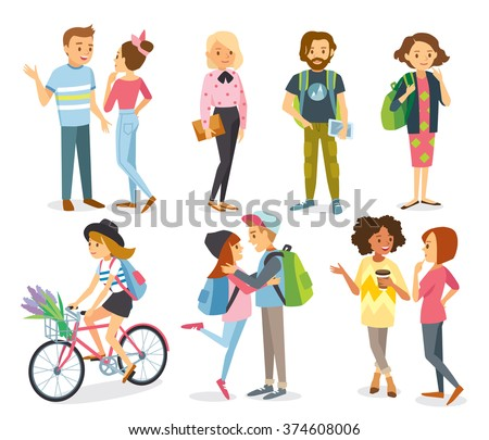 Set of style young people and couples - stock vector