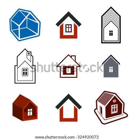 Set of stylish abstract architectural constructions, vector houses symbols, collection design elements.