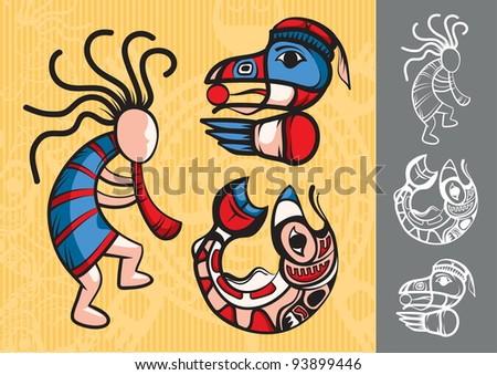 Set of Stylish American Indian symbols - stock vector