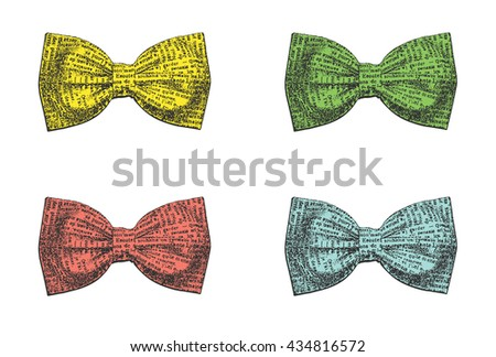Set of stylish bow ties on a white background. Vector illustration